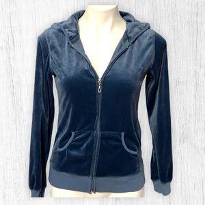 Blue velour zipper hoodie